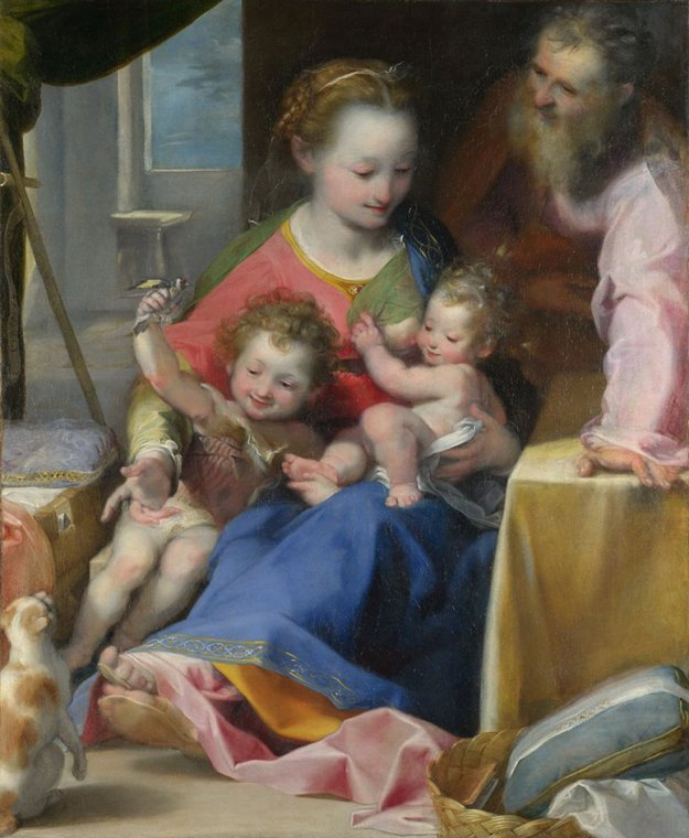 Federico Barocci, The Madonna and Child with Saint Joseph and the Infant Baptist ('La Madonna del Gatto'), probably about 1575 © The National Gallery, London