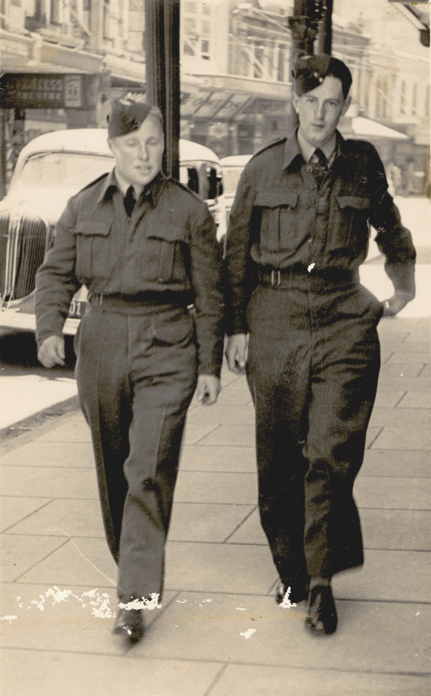 In uniform; 1940s; my dad, closest to the kerb