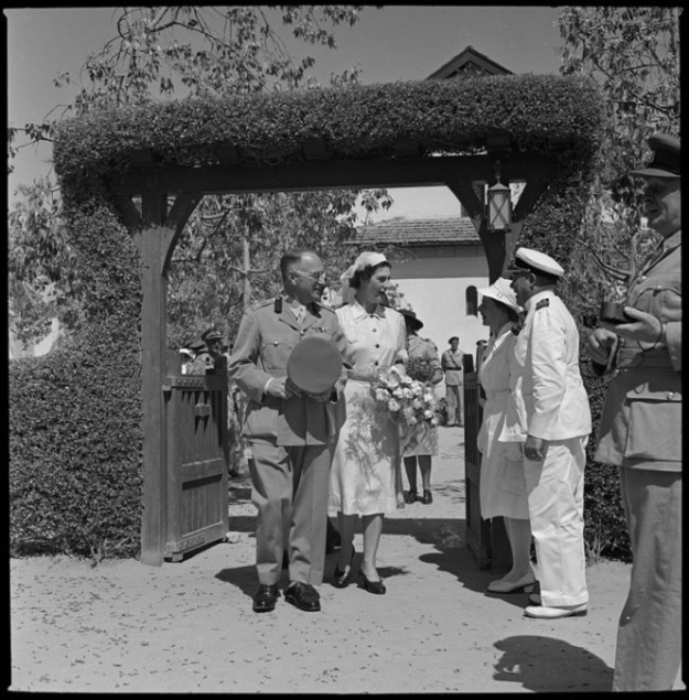 Paton, Harold Gear, 1919-2010. Brigadier Kenneth MacCormick and Mrs MacCormick leaving the church after the marriage ceremony, Egypt. New Zealand. Department of Internal Affairs. War History Branch :Photographs relating to World War 1914-1918, World War 1939-1945, occupation of Japan, Korean War, and Malayan Emergency. Ref: DA-02075-F. Alexander Turnbull Library, Wellington, New Zealand. http://natlib.govt.nz/records/23112562
