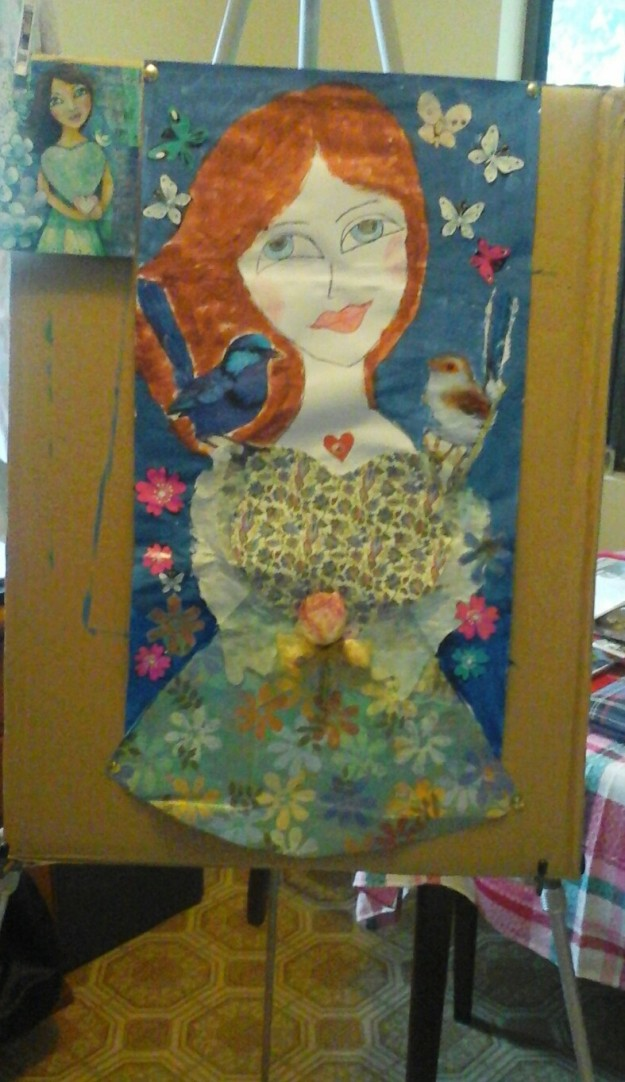 Painted Lady inspired by Pauline King's art, painted by Mother