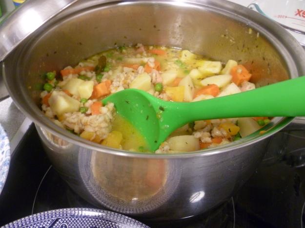 Pot of barley vegetable soup