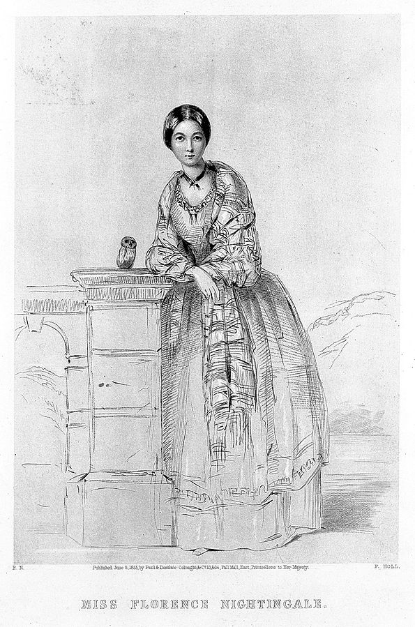 L0010457 Florence Nightingale standing with owl Credit: Wellcome Library, London. Wellcome Images images@wellcome.ac.uk http://wellcomeimages.org Florence Nightingale, facing front, standing with owl, Athena. F. Holl after a sketch by N. Parthenope, afterwards Lady Verney, her sister. Lithograph 1855 By: F. HollPublished: - Copyrighted work available under Creative Commons Attribution only licence CC BY 4.0 http://creativecommons.org/licenses/by/4.0/