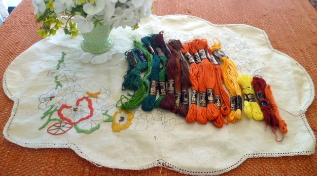 Yet to sell! Vintage embroidery cottons and nasturtium embroidery piece